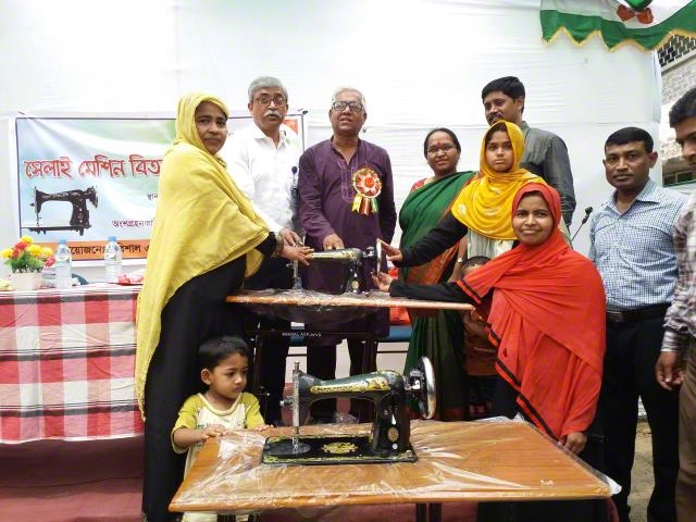 Distribution sewing machine to ultra-poor family